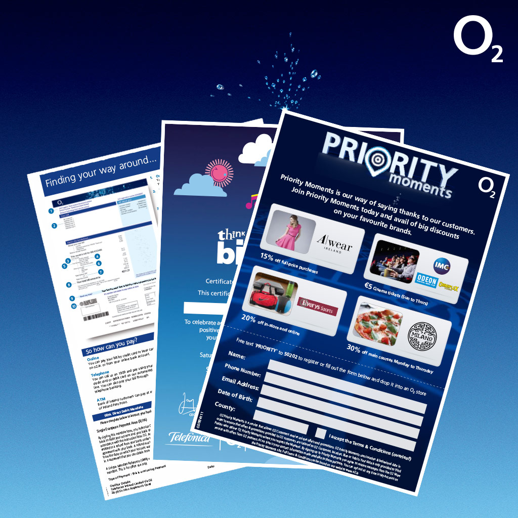 A range of O2 branded printed collateral